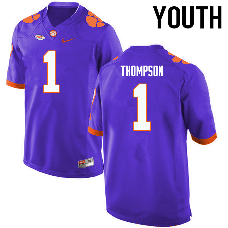 Youth Clemson Tigers #1 Trevion Thompson College Football Jerseys-Purple
