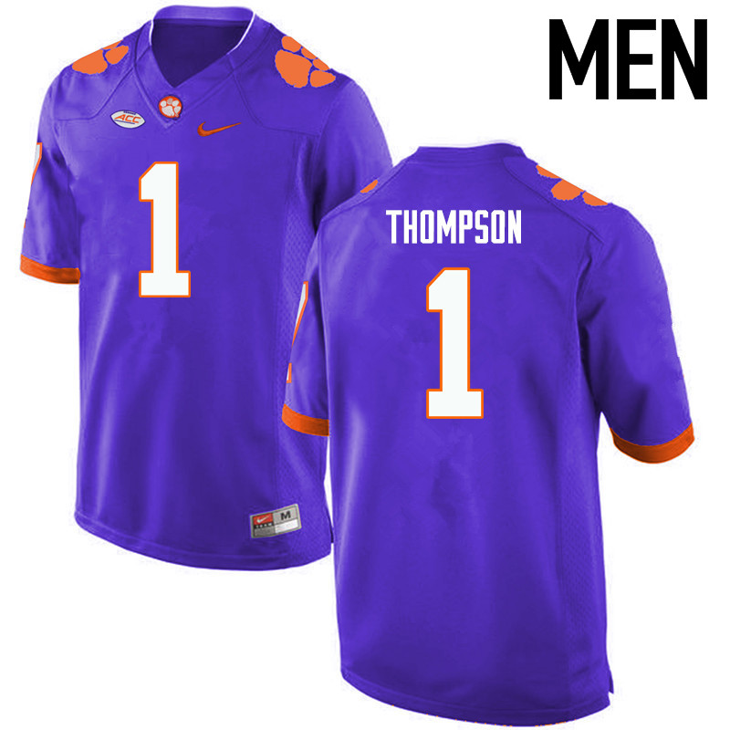 Men Clemson Tigers #1 Trevion Thompson College Football Jerseys-Purple