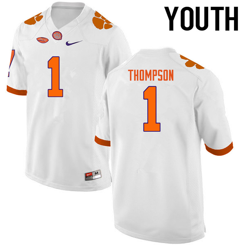 Youth Clemson Tigers #1 Trevion Thompson College Football Jerseys-White