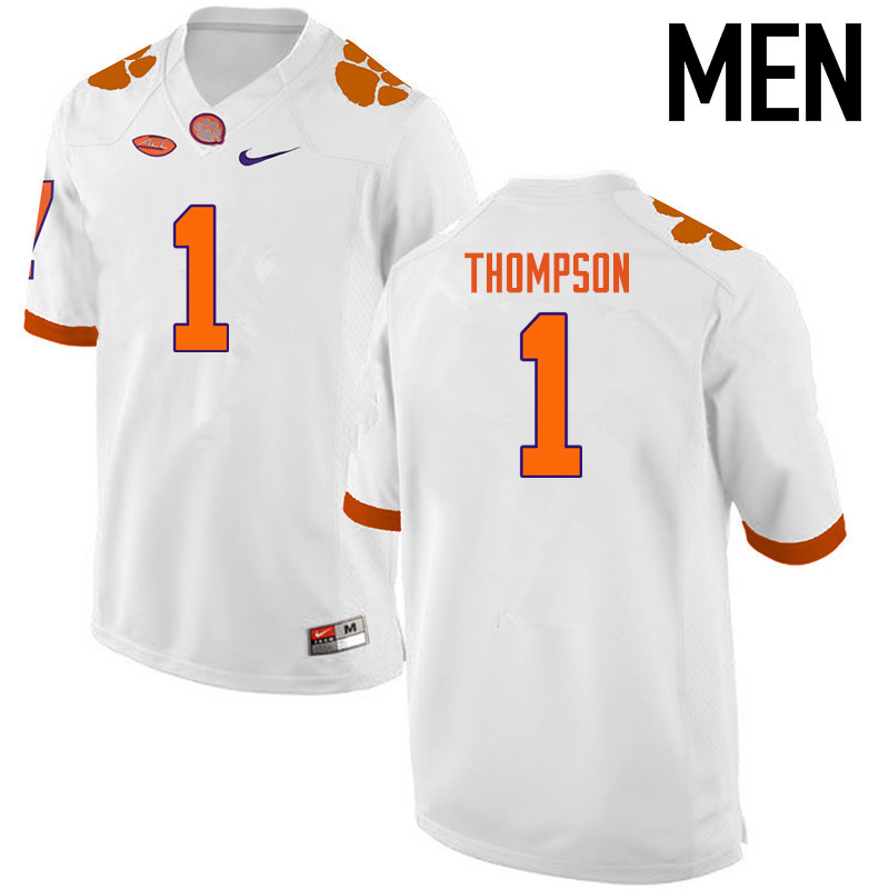 Men Clemson Tigers #1 Trevion Thompson College Football Jerseys-White