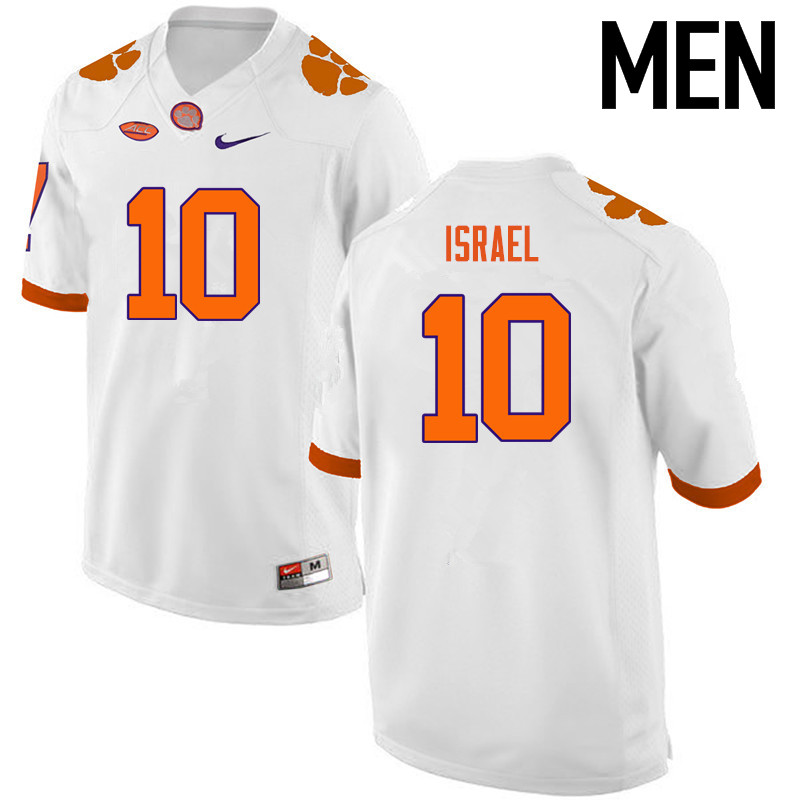 Men Clemson Tigers #10 Tucker Israel College Football Jerseys-White