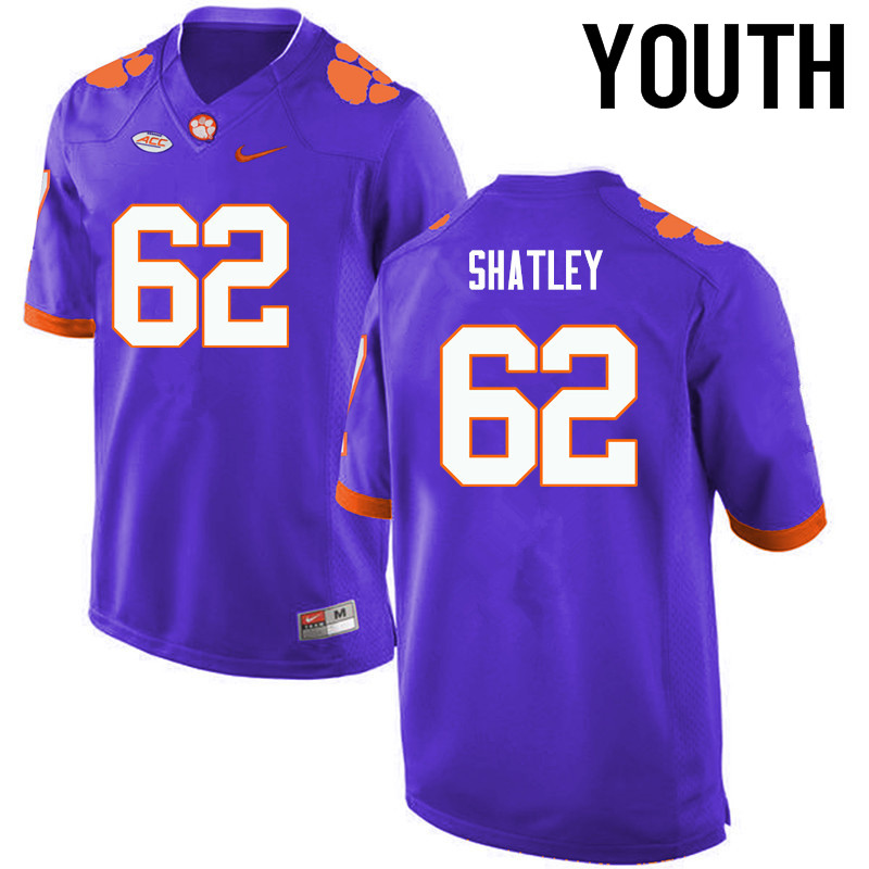 Youth Clemson Tigers #62 Tyler Shatley College Football Jerseys-Purple