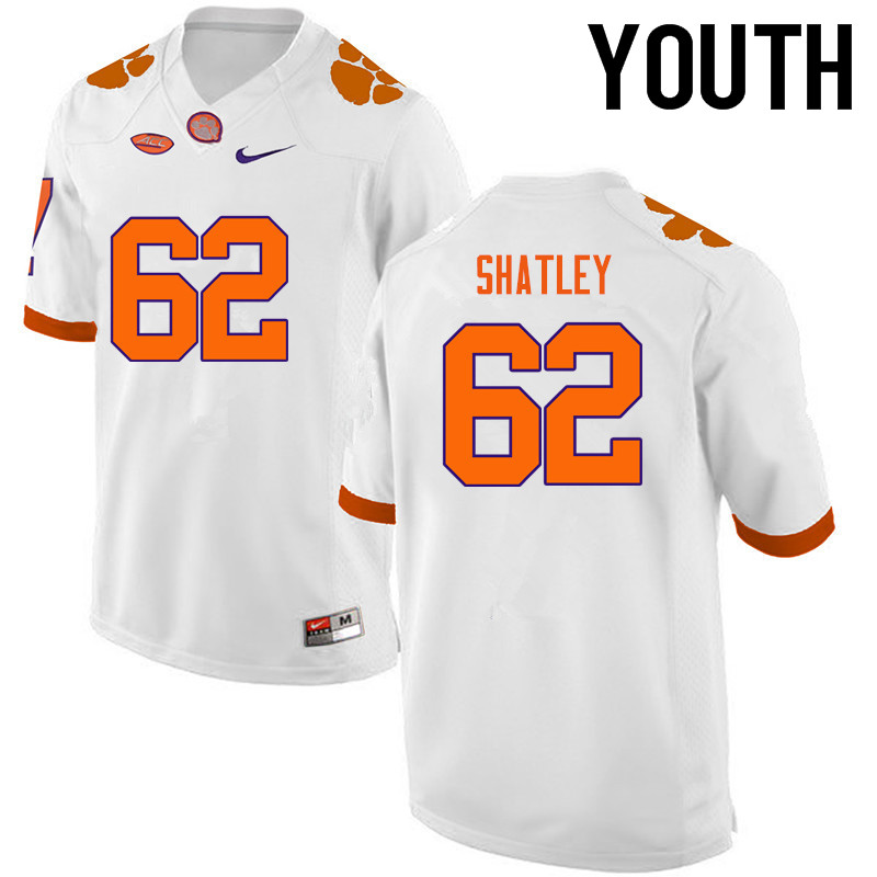 Youth Clemson Tigers #62 Tyler Shatley College Football Jerseys-White