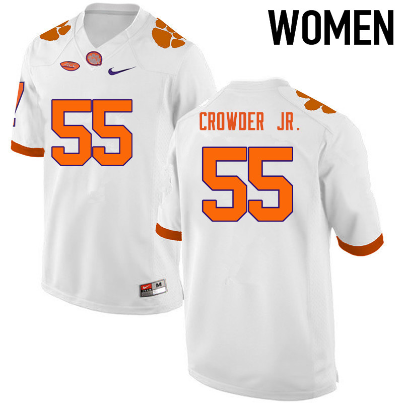 Women Clemson Tigers #55 Tyrone Crowder Jr. College Football Jerseys-White