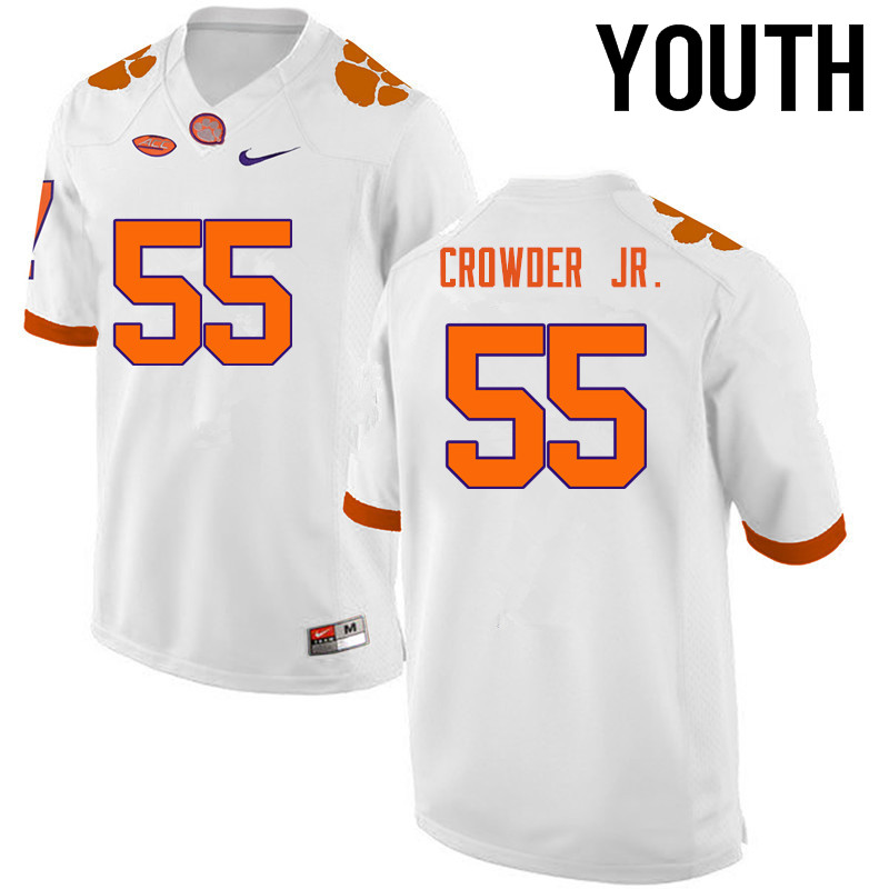 Youth Clemson Tigers #55 Tyrone Crowder Jr. College Football Jerseys-White