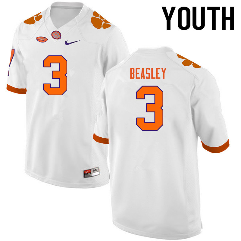 Youth Clemson Tigers #3 Vic Beasley College Football Jerseys-White