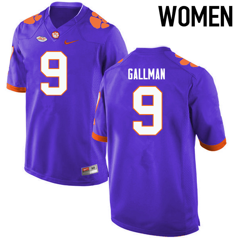 Women Clemson Tigers #9 Wayne Gallman College Football Jerseys-Purple