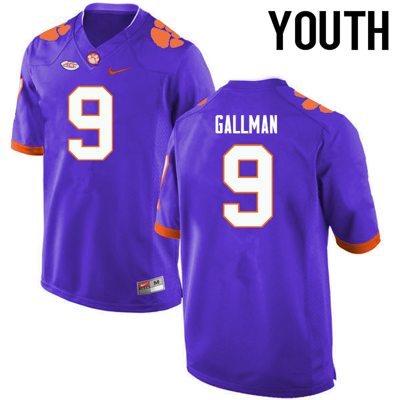 Youth Clemson Tigers #9 Wayne Gallman College Football Jerseys-Purple