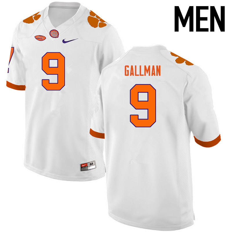 Men Clemson Tigers #9 Wayne Gallman College Football Jerseys-White