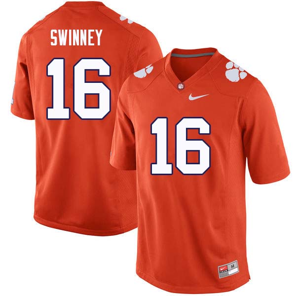 Men #16 Will Swinney Clemson Tigers College Football Jerseys Sale-Orange