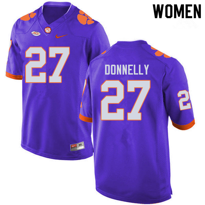 Women #27 Carson Donnelly Clemson Tigers College Football Jerseys Sale-Purple