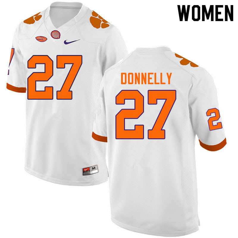 Women #27 Carson Donnelly Clemson Tigers College Football Jerseys Sale-White