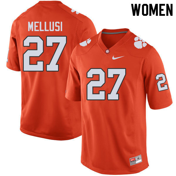 Women #27 Chez Mellusi Clemson Tigers College Football Jerseys Sale-Orange