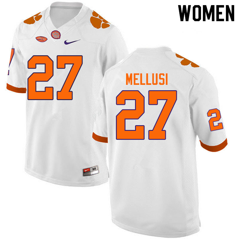 Women #27 Chez Mellusi Clemson Tigers College Football Jerseys Sale-White