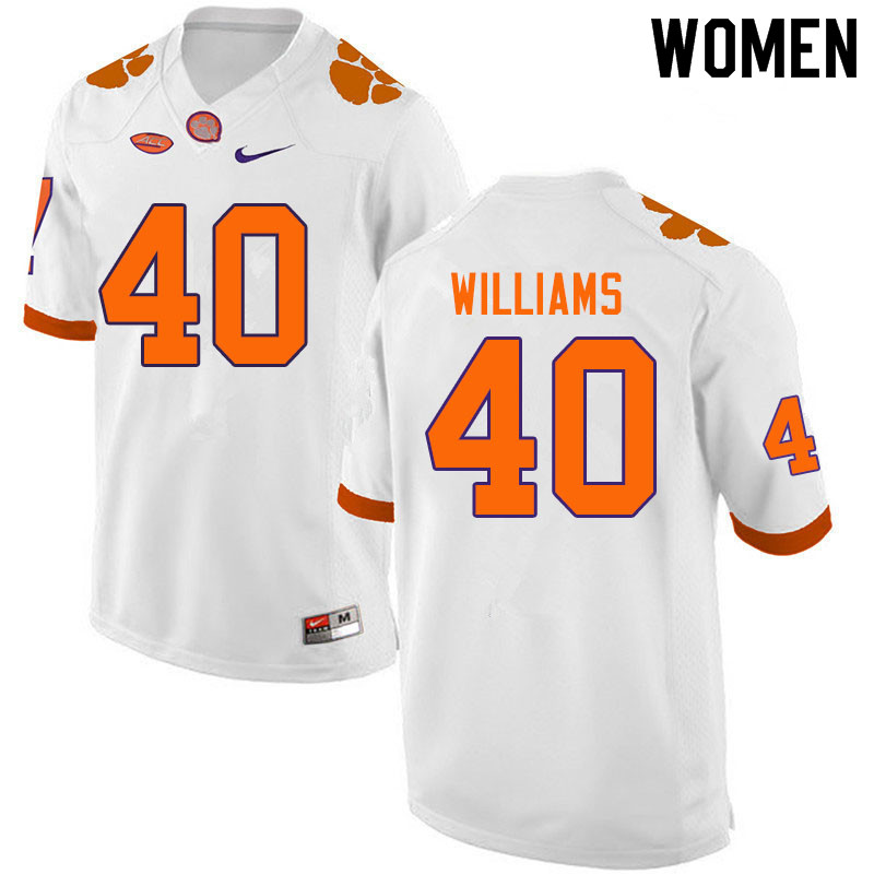 Women #40 Greg Williams Clemson Tigers College Football Jerseys Sale-White