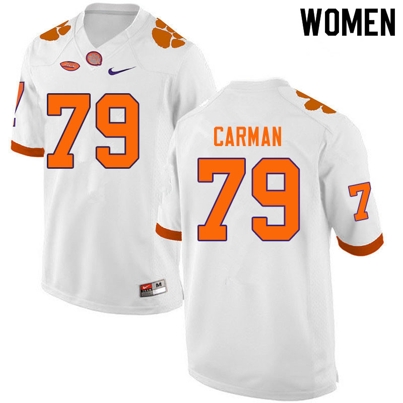 Women #79 Jackson Carman Clemson Tigers College Football Jerseys Sale-White