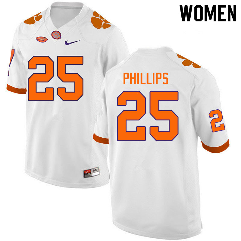 Women #25 Jalyn Phillips Clemson Tigers College Football Jerseys Sale-White