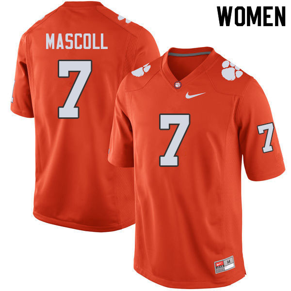 Women #7 Justin Mascoll Clemson Tigers College Football Jerseys Sale-Orange