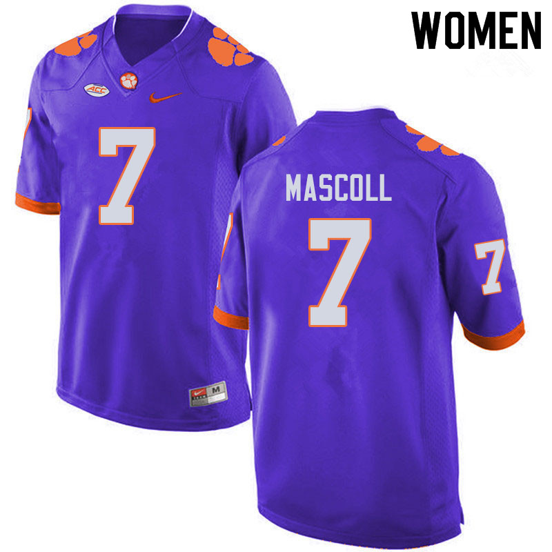 Women #7 Justin Mascoll Clemson Tigers College Football Jerseys Sale-Purple