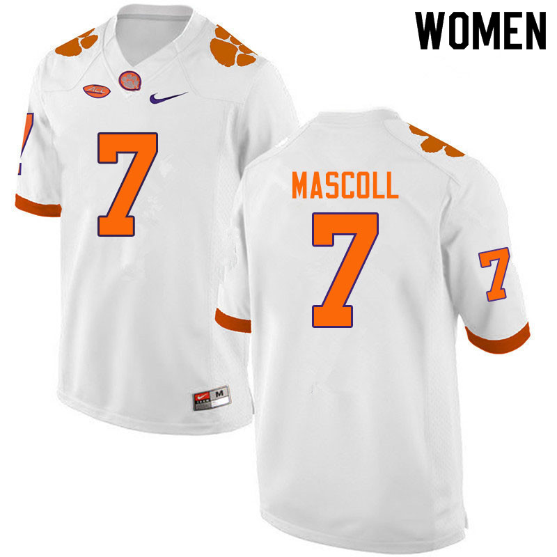 Women #7 Justin Mascoll Clemson Tigers College Football Jerseys Sale-White