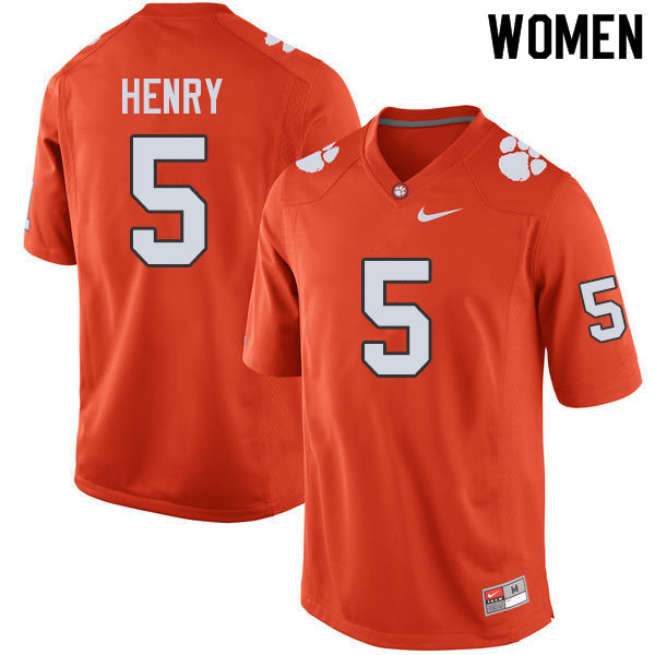 Women #5 K.J. Henry Clemson Tigers College Football Jerseys Sale-Orange