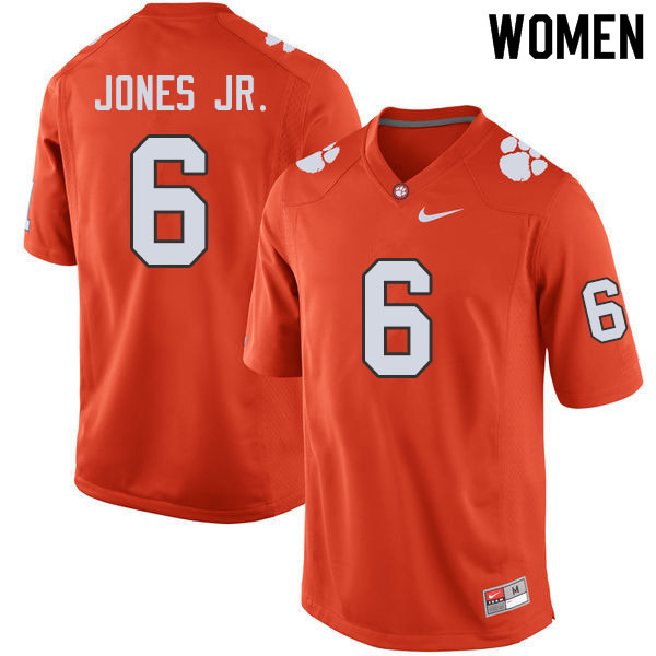 Women #6 Mike Jones Jr. Clemson Tigers College Football Jerseys Sale-Orange