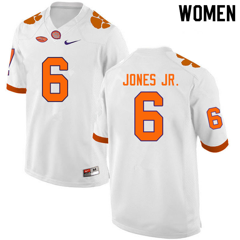 Women #6 Mike Jones Jr. Clemson Tigers College Football Jerseys Sale-White