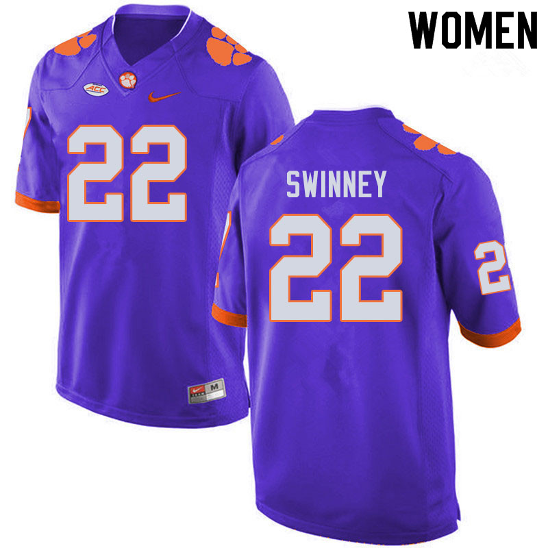 Women #22 Will Swinney Clemson Tigers College Football Jerseys Sale-Purple