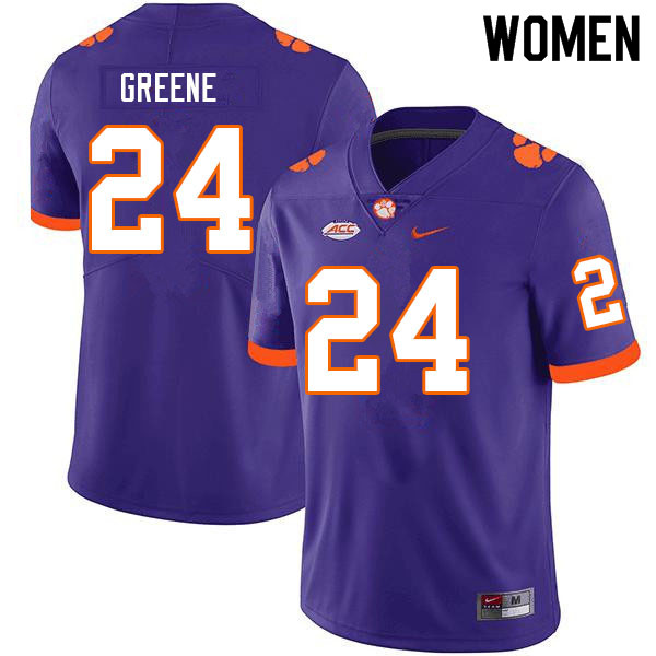 Women #24 Hamp Greene Clemson Tigers College Football Jerseys Sale-Purple