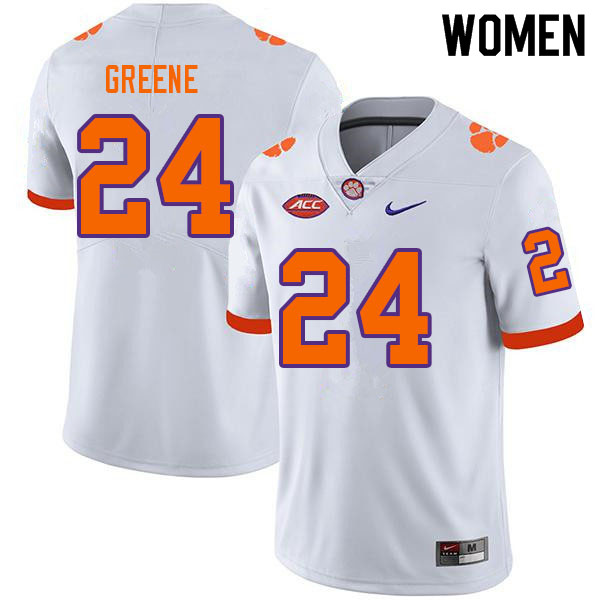 Women #24 Hamp Greene Clemson Tigers College Football Jerseys Sale-White