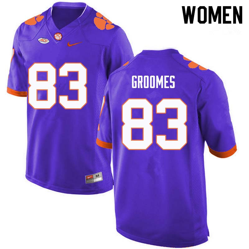 Women #83 Carter Groomes Clemson Tigers College Football Jerseys Sale-Purple