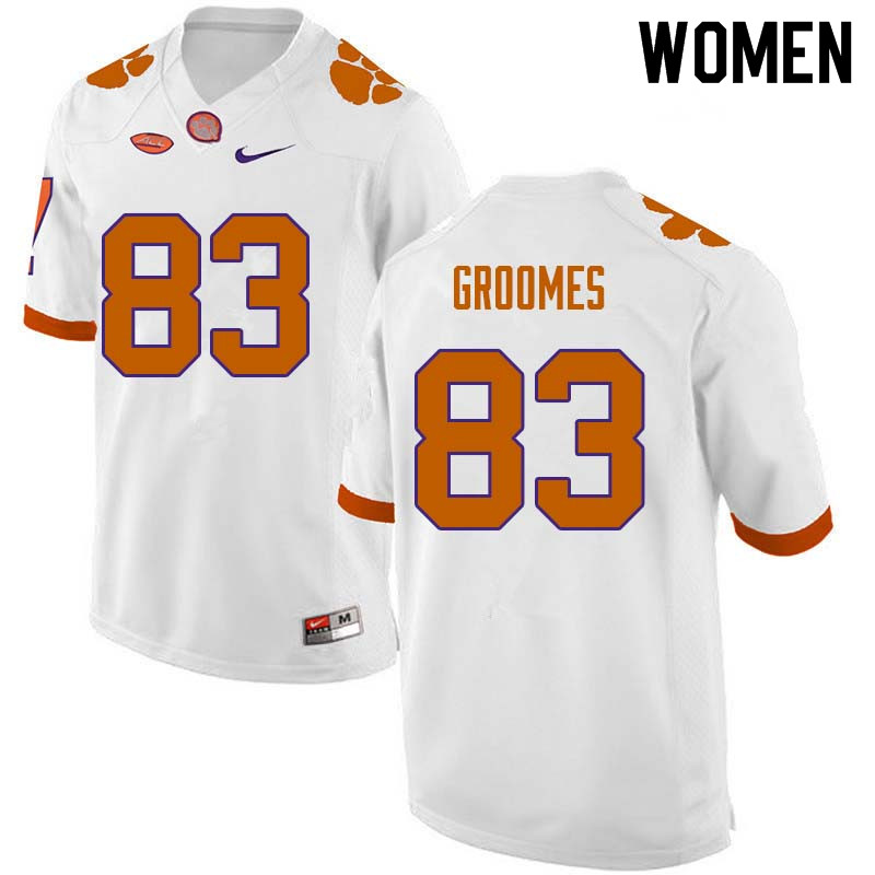 Women #83 Carter Groomes Clemson Tigers College Football Jerseys Sale-White