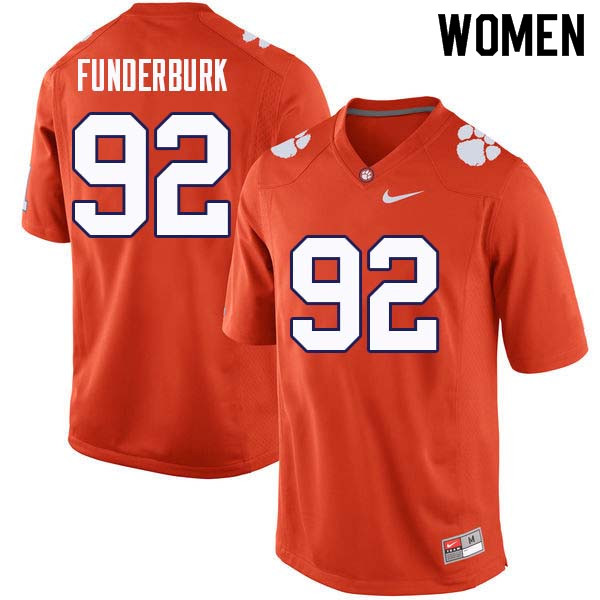 Women #92 Daniel Funderburk Clemson Tigers College Football Jerseys Sale-Orange