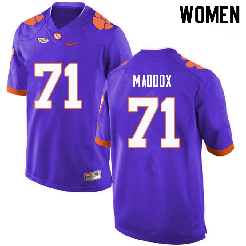 Women #71 Jack Maddox Clemson Tigers College Football Jerseys Sale-Purple