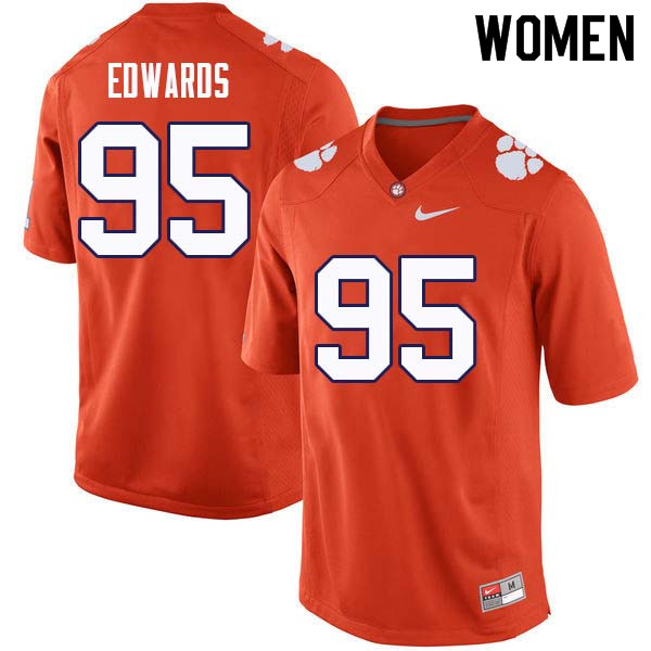 Women #95 James Edwards Clemson Tigers College Football Jerseys Sale-Orange