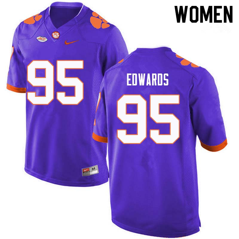 Women #95 James Edwards Clemson Tigers College Football Jerseys Sale-Purple