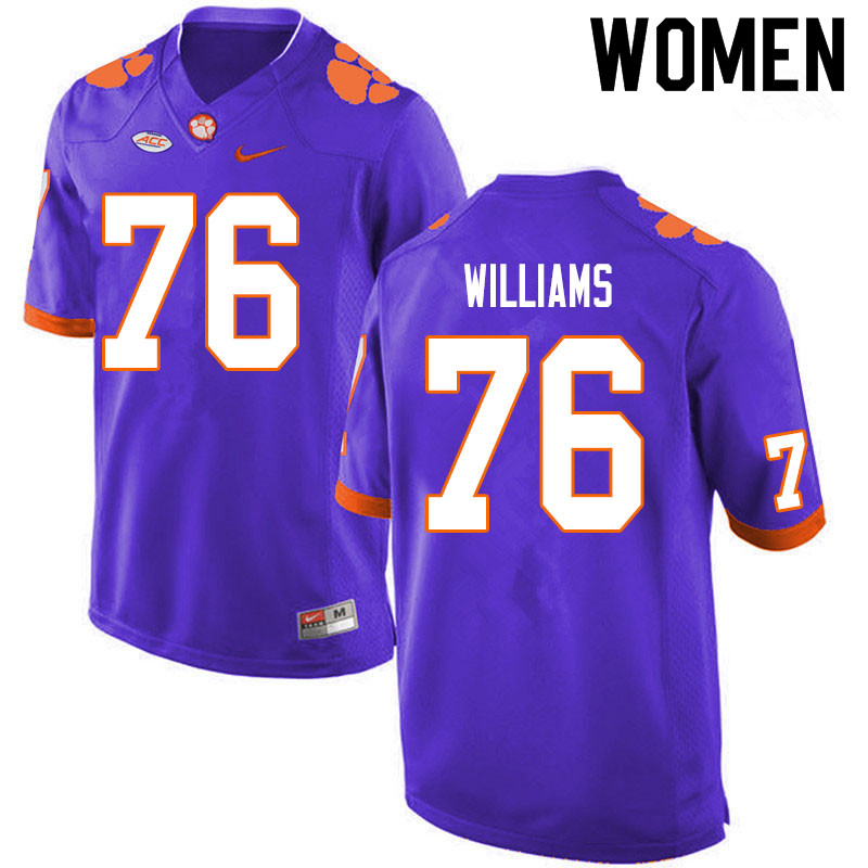 Women #76 John Williams Clemson Tigers College Football Jerseys Sale-Purple