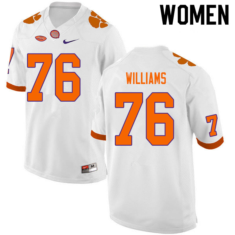 Women #76 John Williams Clemson Tigers College Football Jerseys Sale-White