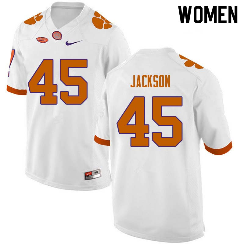 Women #45 Josh Jackson Clemson Tigers College Football Jerseys Sale-White