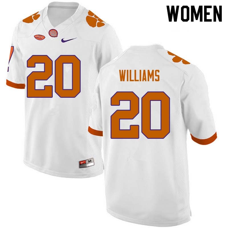 Women #20 LeAnthony Williams Clemson Tigers College Football Jerseys Sale-White