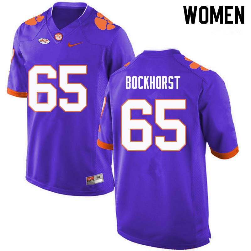 Women #65 Matt Bockhorst Clemson Tigers College Football Jerseys Sale-Purple