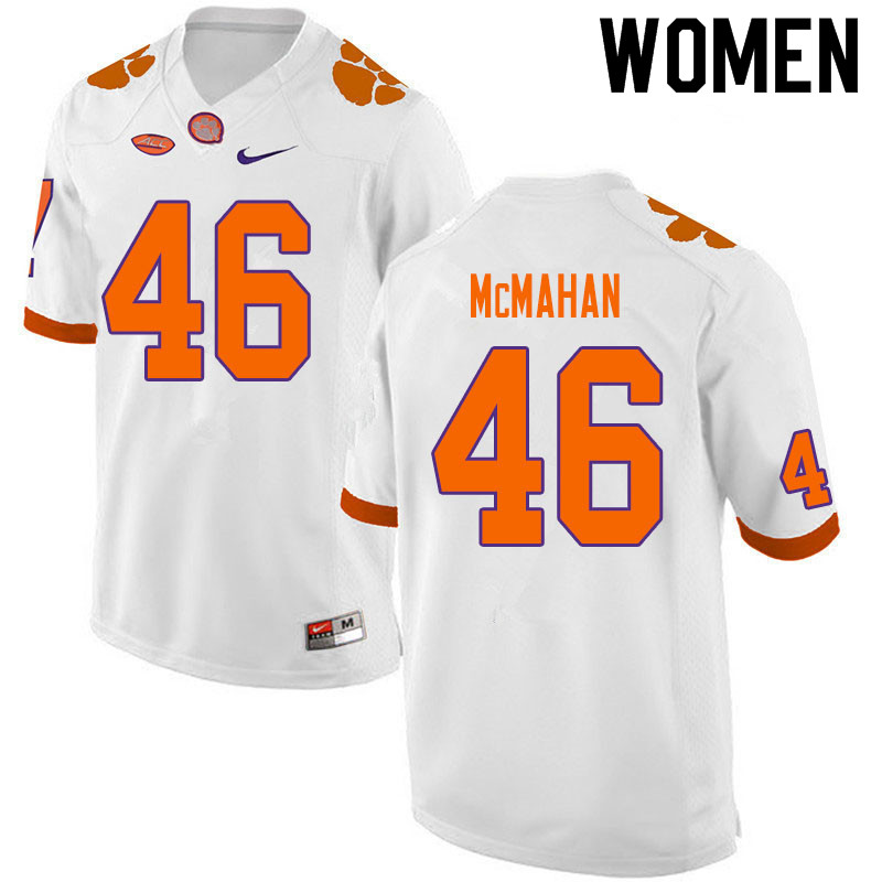 Women #46 Matt McMahan Clemson Tigers College Football Jerseys Sale-White