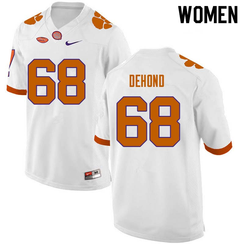 Women #68 Noah DeHond Clemson Tigers College Football Jerseys Sale-White
