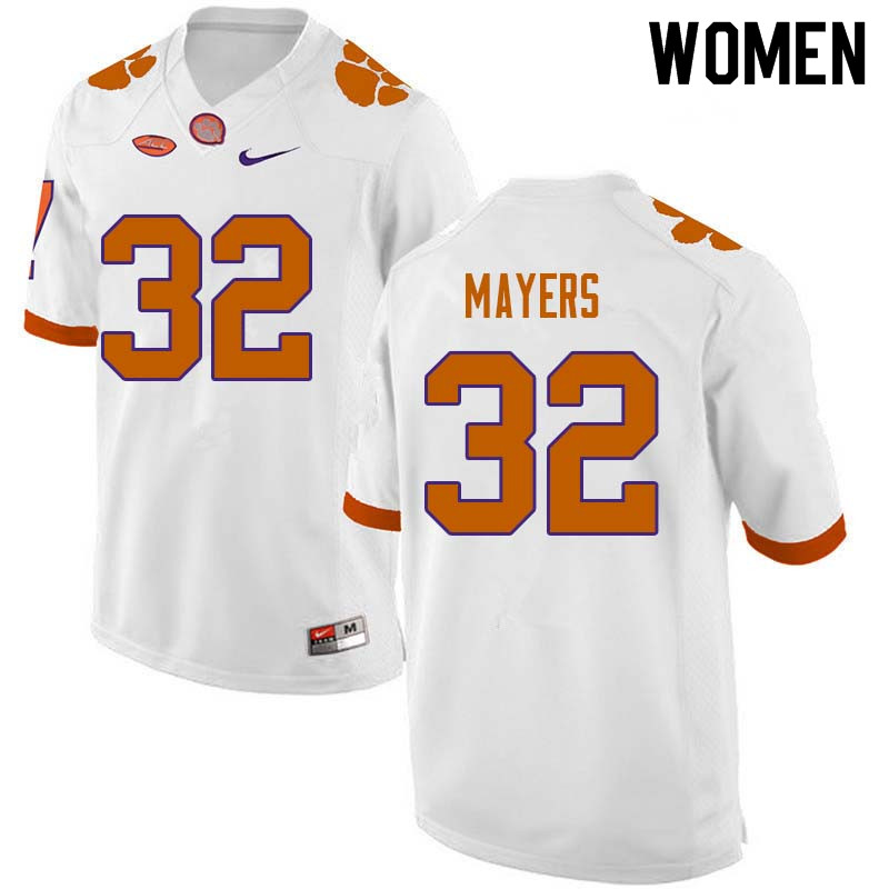 Women #32 Sylvester Mayers Clemson Tigers College Football Jerseys Sale-White