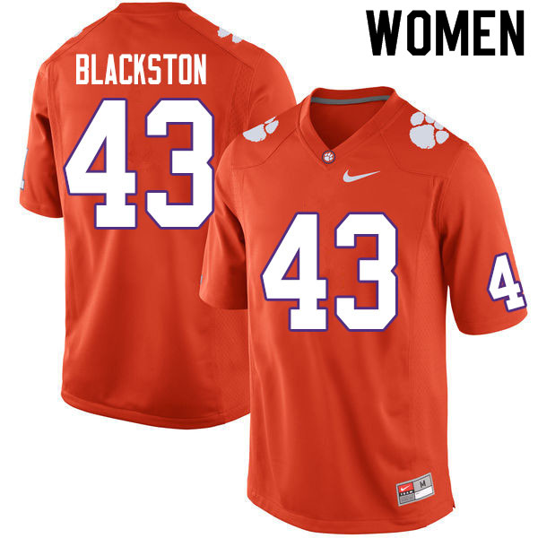 Women #43 Will Blackston Clemson Tigers College Football Jerseys Sale-Orange