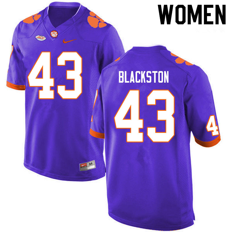 Women #43 Will Blackston Clemson Tigers College Football Jerseys Sale-Purple