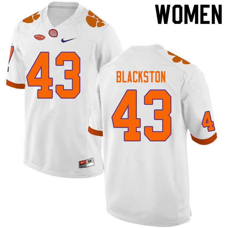 Women #43 Will Blackston Clemson Tigers College Football Jerseys Sale-White