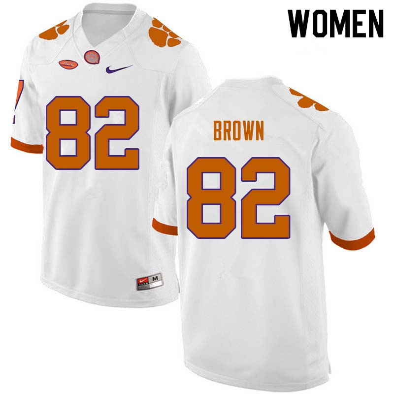 Women #82 Will Brown Clemson Tigers College Football Jerseys Sale-White
