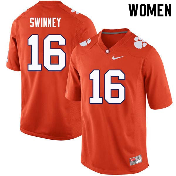 Women #16 Will Swinney Clemson Tigers College Football Jerseys Sale-Orange