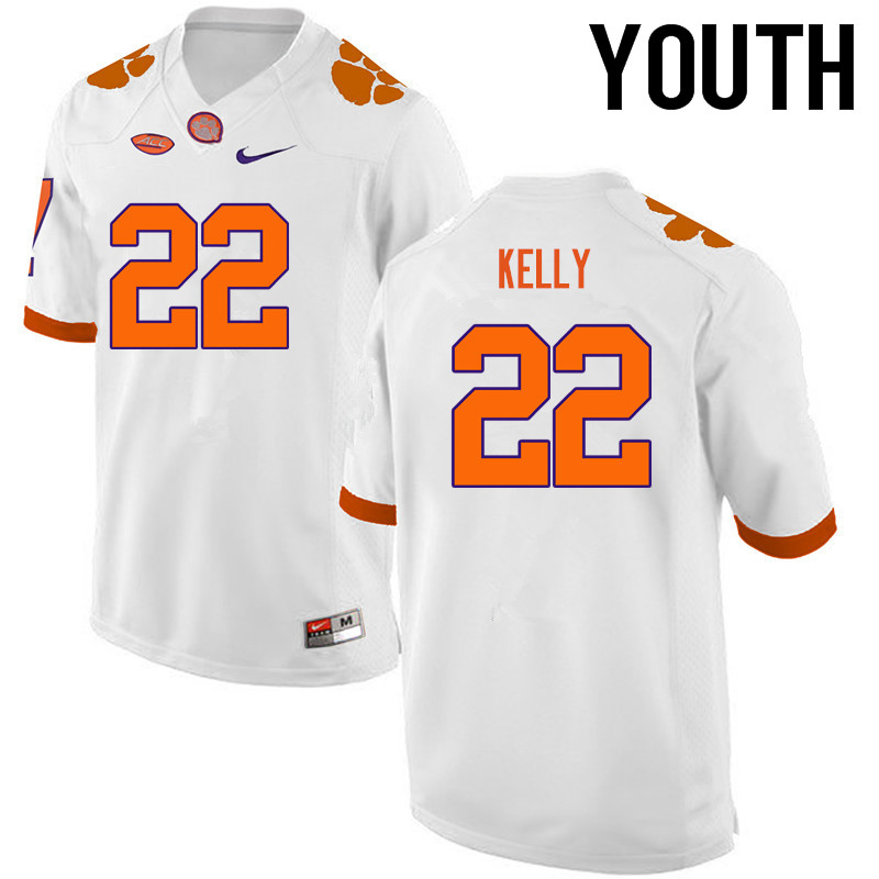 Youth Clemson Tigers #22 Xavier Kelly College Football Jerseys-White